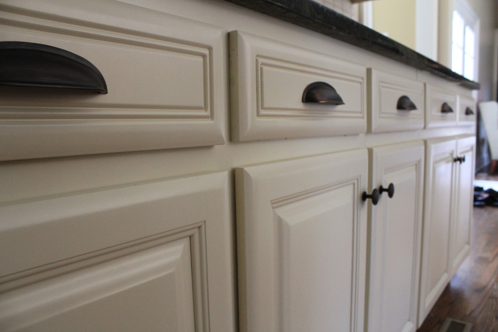 Kitchen before after domestic charm for Black pulls for kitchen cabinets
